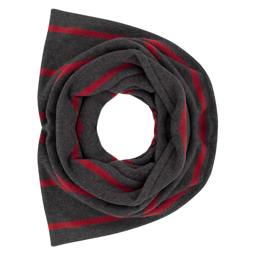 Mama B Spacco RG Wide Stripe Fleece Snood Anthra / Melograno