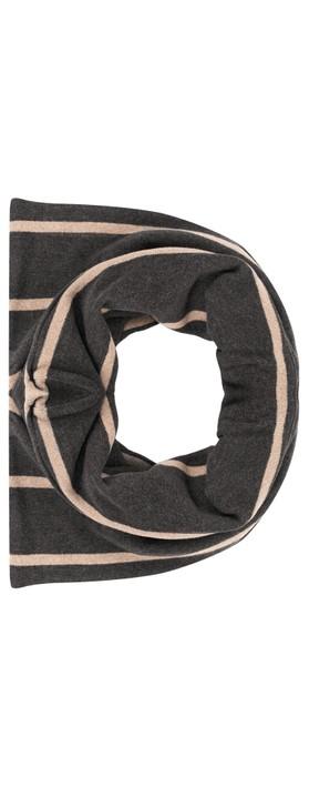 Mama B Spacco RG Wide Stripe Fleece Snood Nocciola / Anthra