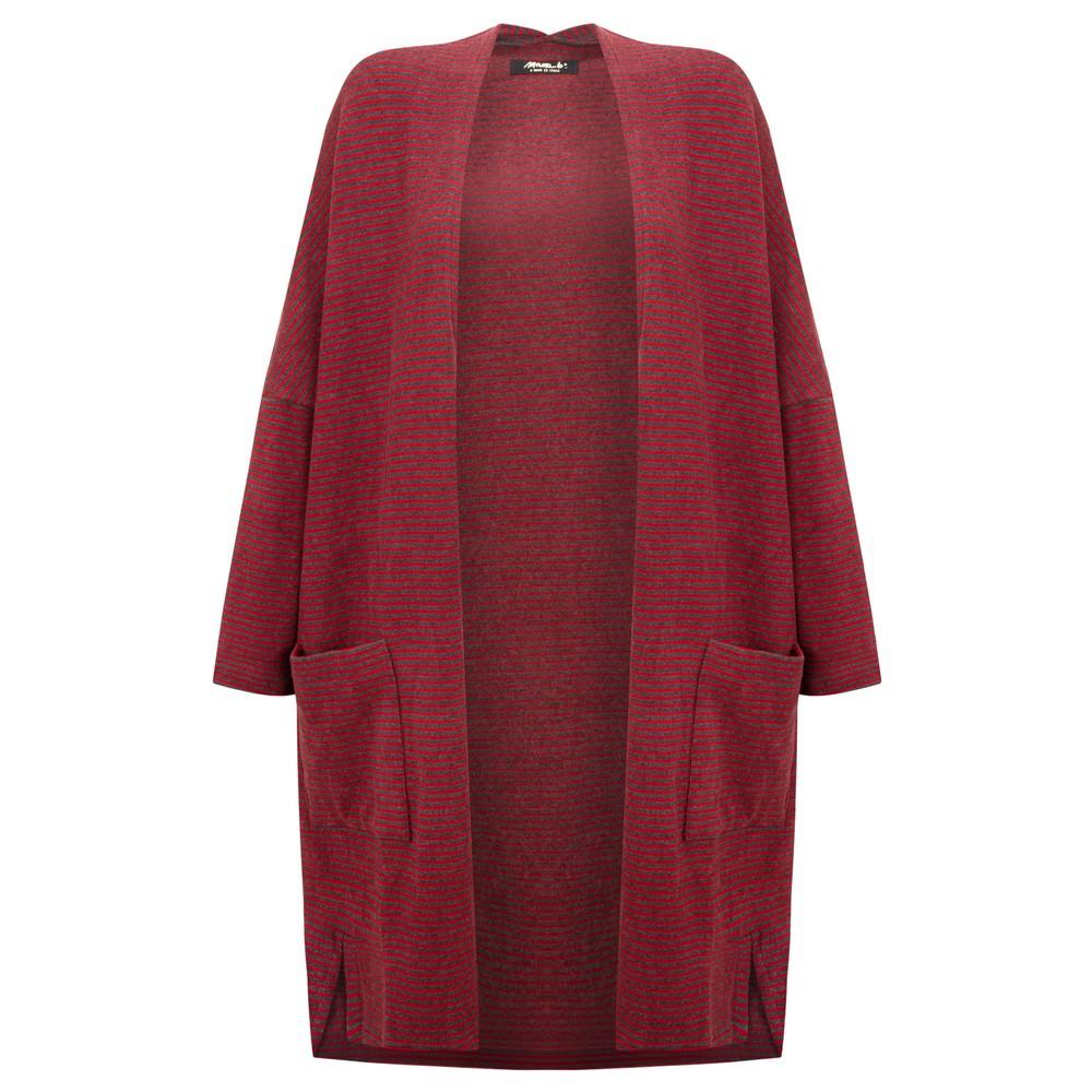 Mama B Souffle M Narrow Stripe Fleece Cardigan Anthra / Melograno