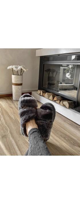 EMU Australia Wobbegong Sheepskin Slider Slipper Charcoal