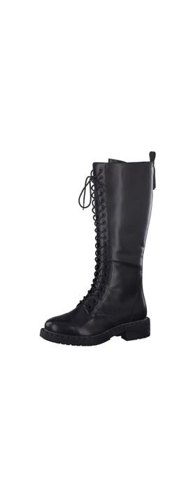Tamaris Nevia Lace Front Biker Style Long Boot Black