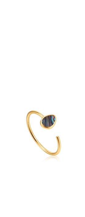 Ania Haie Tidal Abalone Adjustable Ring Gold