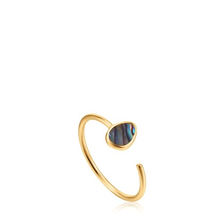 Ania Haie Tidal Abalone Adjustable Ring - Gold