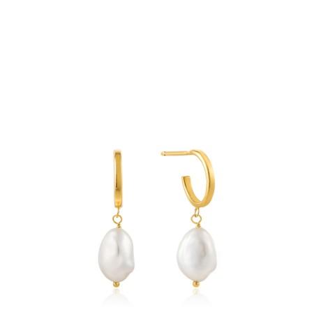 Ania Haie Pearl Mini Hoop Earring - Gold