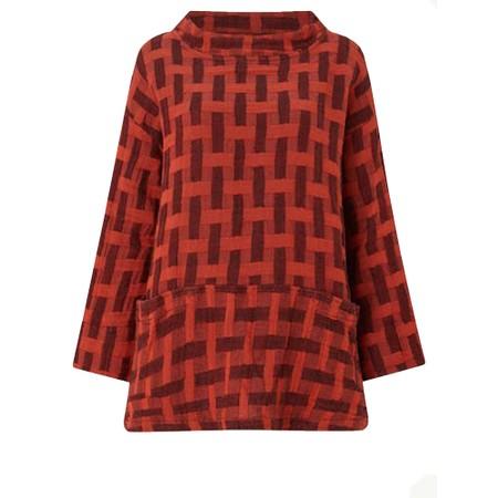 Sahara Jacquard Linen Boxy Top - Red
