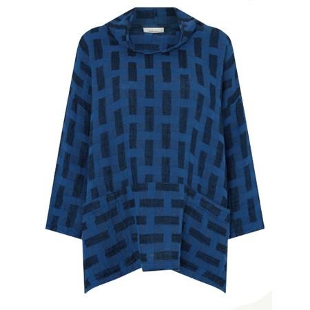 Sahara Jacquard Linen Boxy Top - Blue