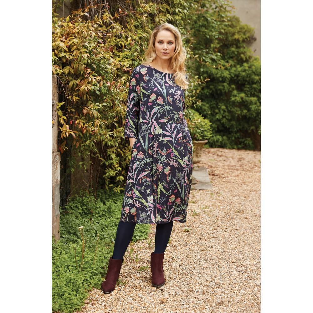 Adini Bryony Dress Botanical Print Navy