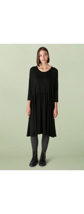 Sahara Crepe Jersey Flared Dress Black