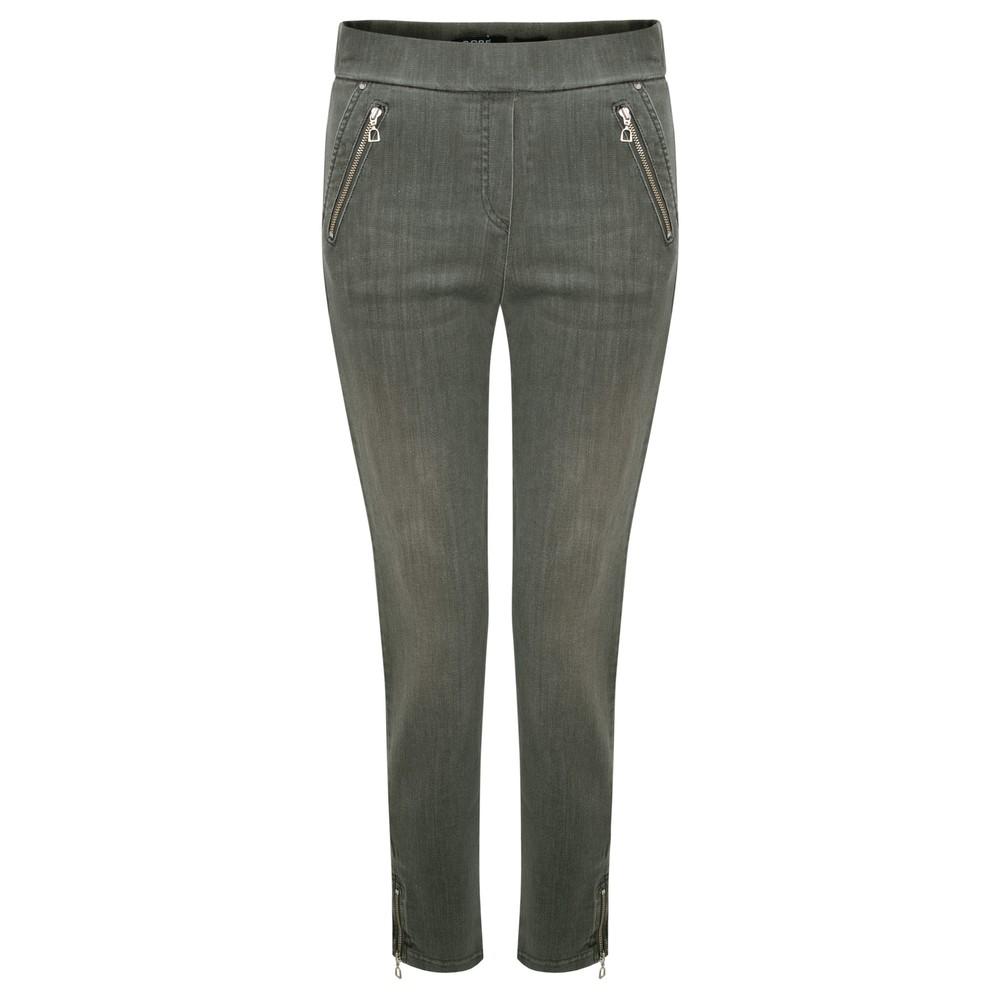 Robell Nena Olive Washed Denim Ankle Zip Cropped Jeans Dark Olive 89