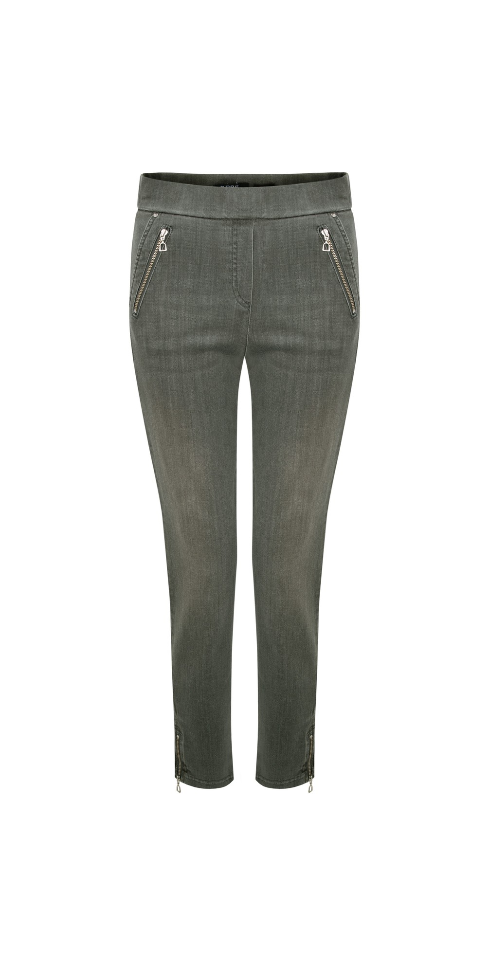 Nena Olive Washed Denim Ankle Zip Cropped Jeans main image