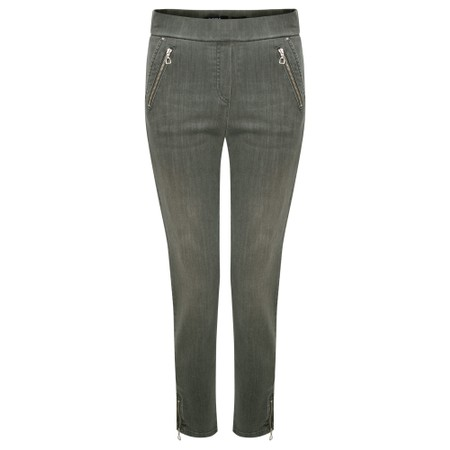 Robell Nena Olive Washed Denim Ankle Zip Cropped Jeans - Green