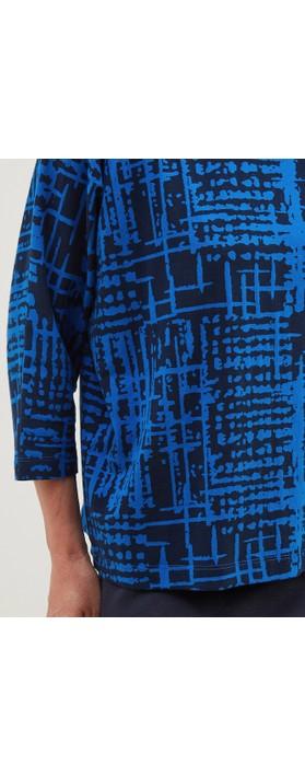 Adini Meri Top Abstract Check Print Navy / Bright Blue