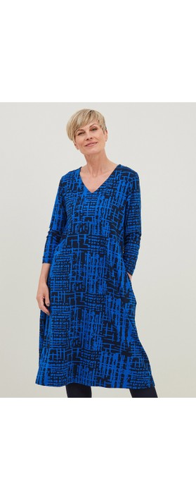 Adini Ridley Abstract Check Print Dress  Navy / Bright Blue
