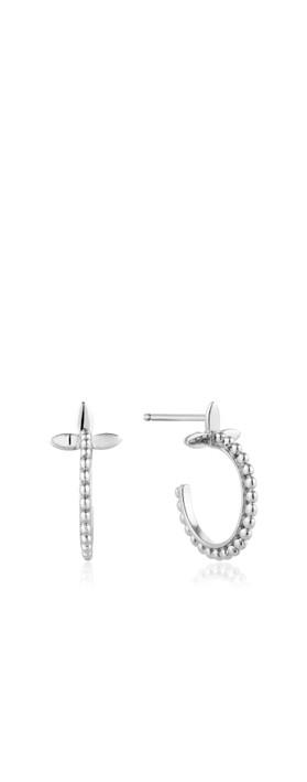 Ania Haie Modern Beaded Hoop Earrings Silver