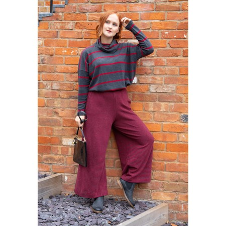 Mama B Suzette M Narrow Stripe Fleece Trouser - Grey