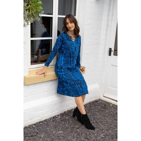 Adini Ridley Abstract Check Print Dress  - Blue