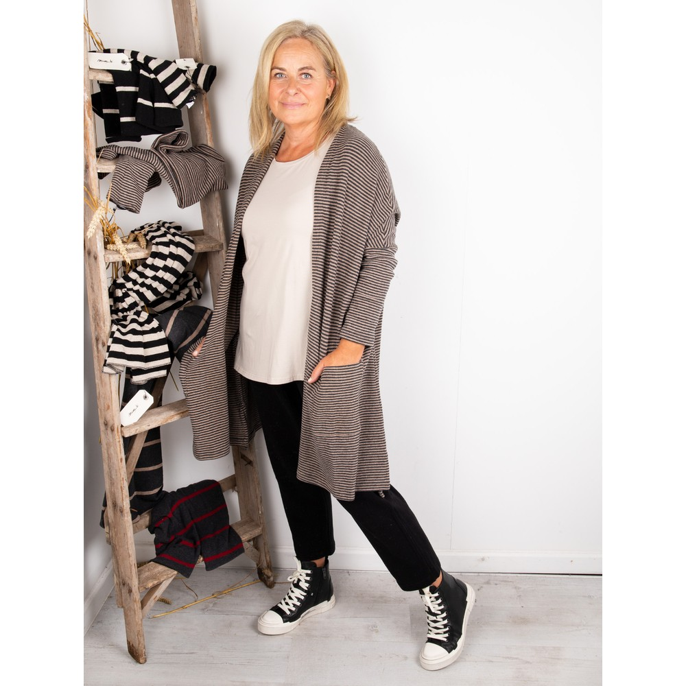 Mama B Souffle M Narrow Stripe Fleece Cardigan Nocciola / Anthra