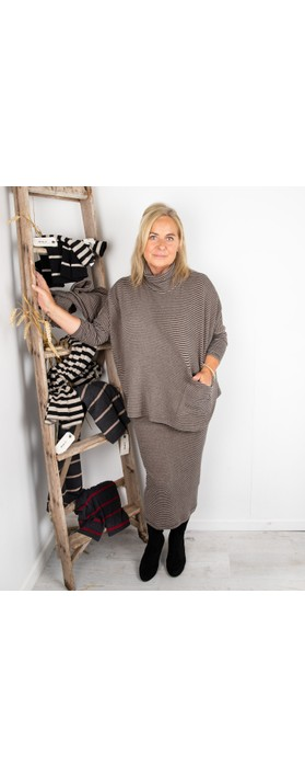 Mama B Bigne M Narrow Stripe Fleece Jumper Nocciola / Anthra