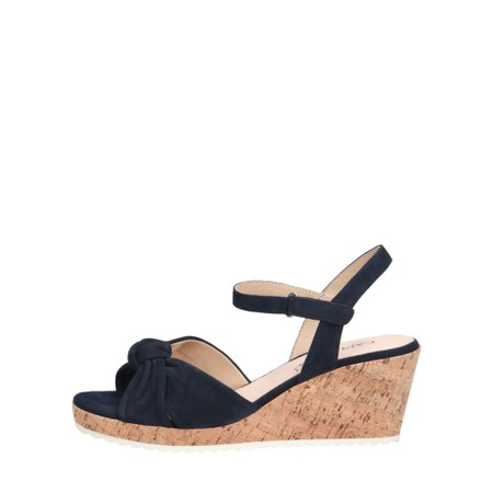 Caprice Footwear Knot Suede Wedge sandal  - Turquoise