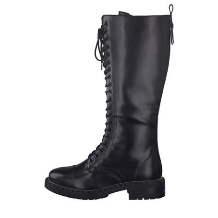 Tamaris Nevia Lace Front Biker Style Long Boot - Black