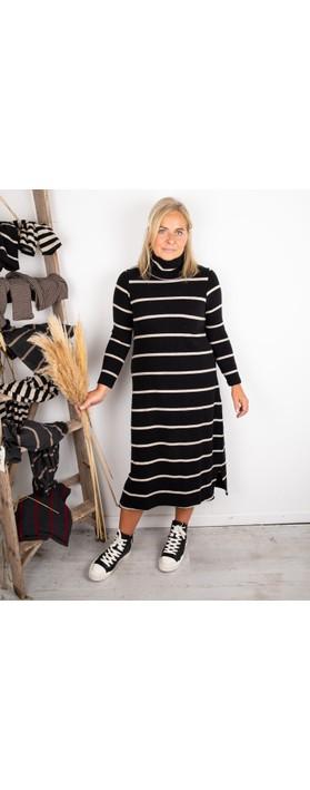 Mama B Tiramisu RG Wide Stripe Fleece Dress Nero / Marmo
