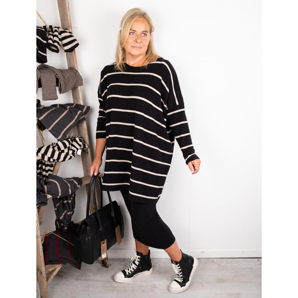 Mama B Grappa RG Wide Stripe Fleece Jumper Nero / Marmo