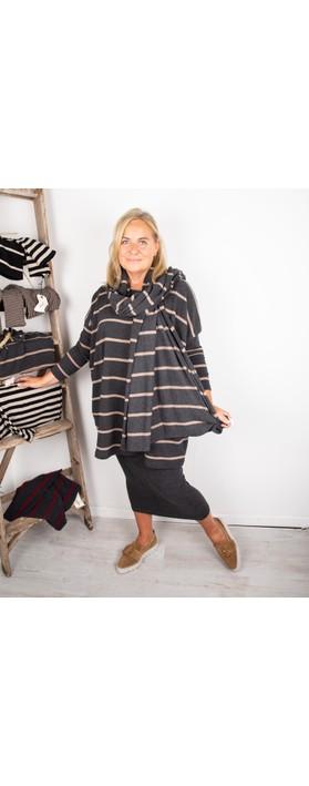 Mama B Grappa RG Wide Stripe Fleece Jumper Nocciola / Anthra