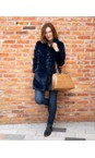 RINO AND PELLE Navy Nonna Faux Fur Coat