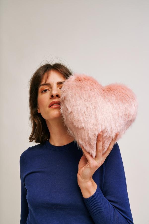 Faux Fur Heart Cushion main image