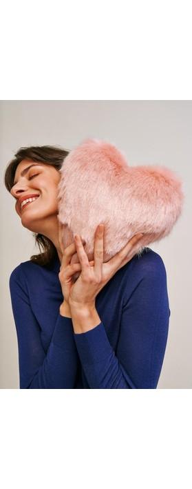 Helen Moore Faux Fur Heart Cushion Blossom Cloud