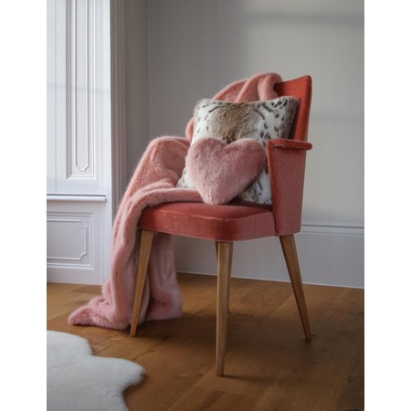 Helen Moore Faux Fur Heart Cushion - Pink