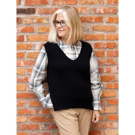 Amazing Woman Pixie V Neck Knitted Vest - Black