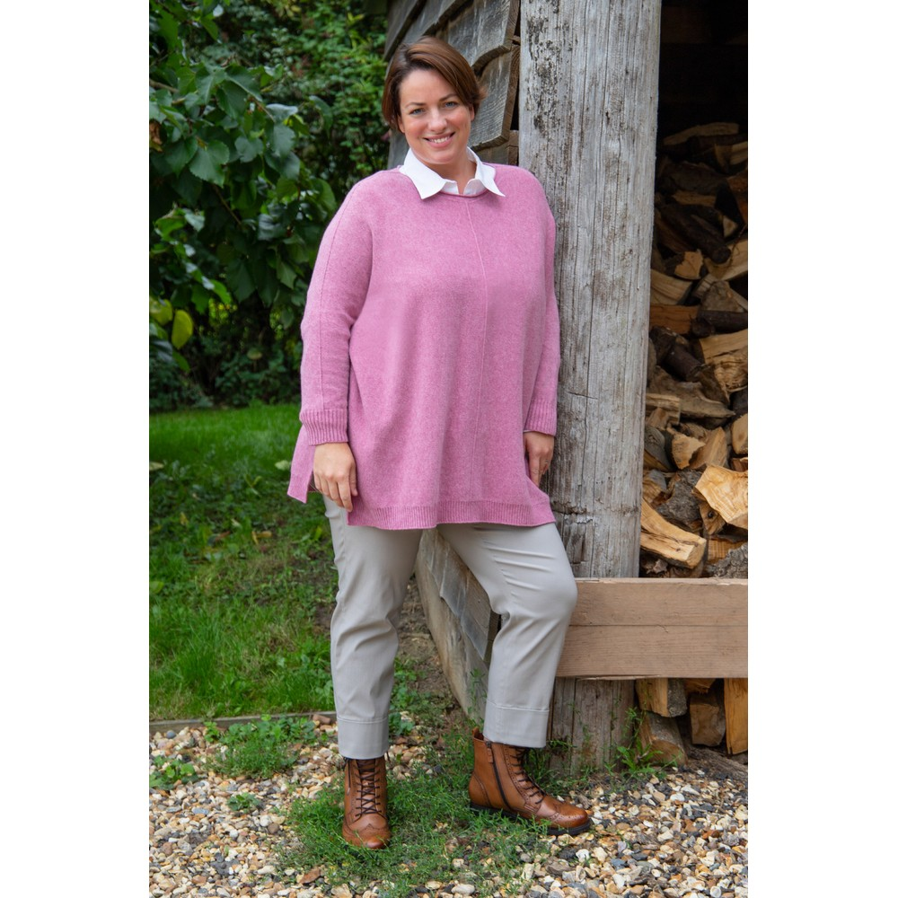 Amazing Woman Cassi X Round Neck Front Seam Knit Orchid