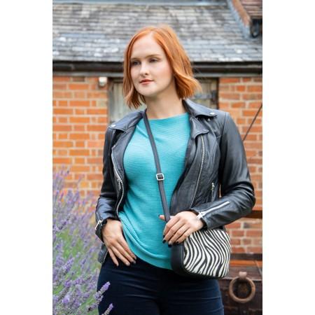 Gemini Label Bags Pinkie Leather Animal Print Bag - Black