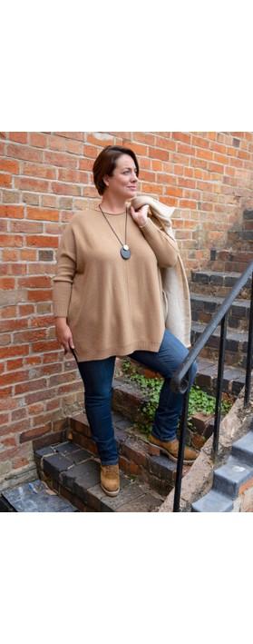 Amazing Woman Cassi X Round Neck Front Seam Knit Caramel
