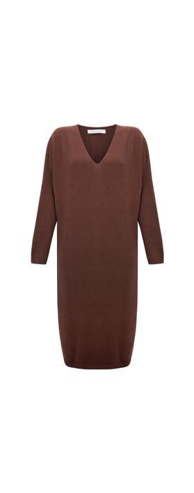 Amazing Woman Pasha V Neck Oversized Dress Coffee