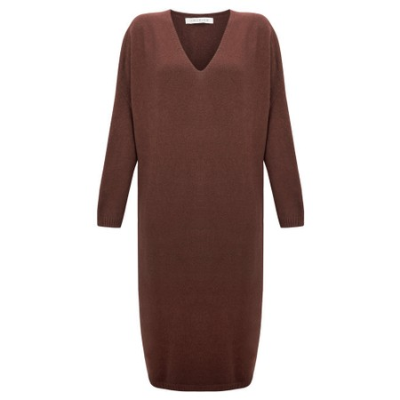 Amazing Woman Pasha V Neck Oversized Dress - Brown