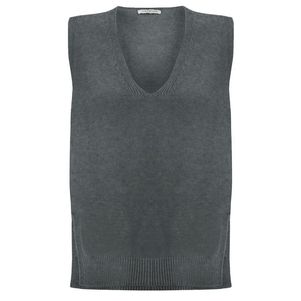 Amazing Woman Pixie V Neck Knitted Vest Charcoal