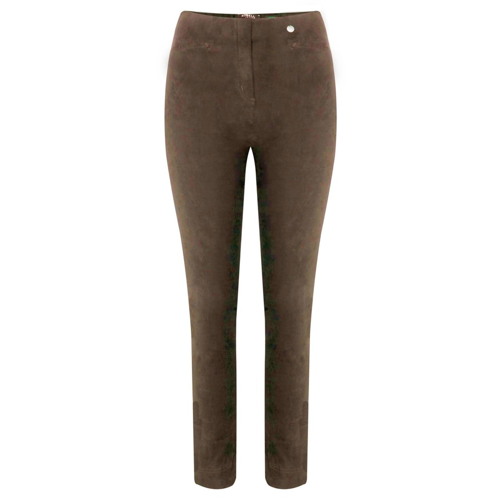 Robell Rose Stretch Faux Suede Trouser Almond 18