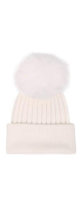 Bitz of Glitz Jessie Pom Pom Hat  White / White Pom