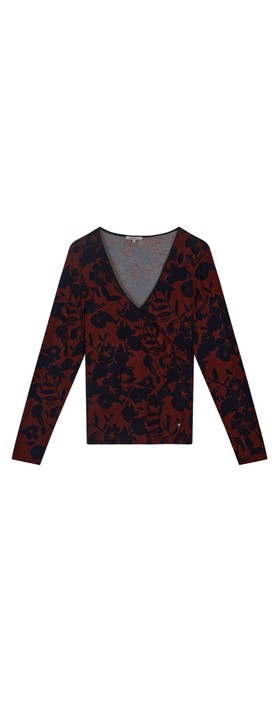 Sandwich Clothing Floral Cross Over Jersey Top  Fired Brick