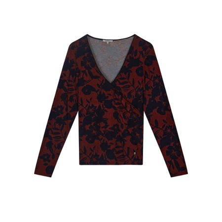Sandwich Clothing Floral Cross Over Jersey Top  - Orange