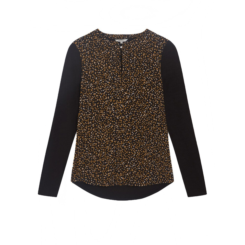 Sandwich Clothing Arty Dots Long Sleeve Top Almost Black