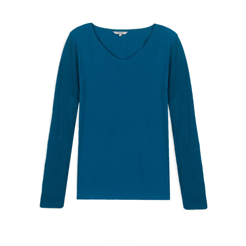 Sandwich Clothing Long Sleeve Contrast Front Top Deep Lagoon