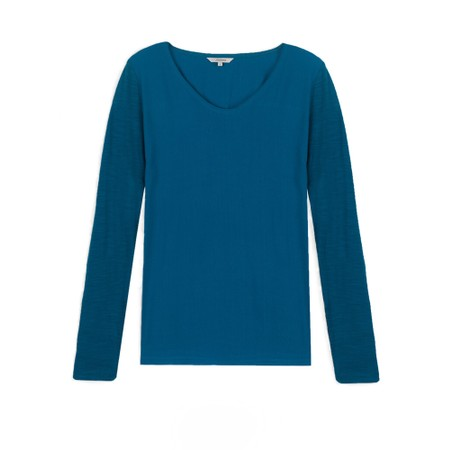 Sandwich Clothing Long Sleeve Contrast Front Top - Blue