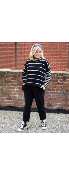 Mama B Monte Tbiri Stripe Fleece Jumper Nero / Marmo