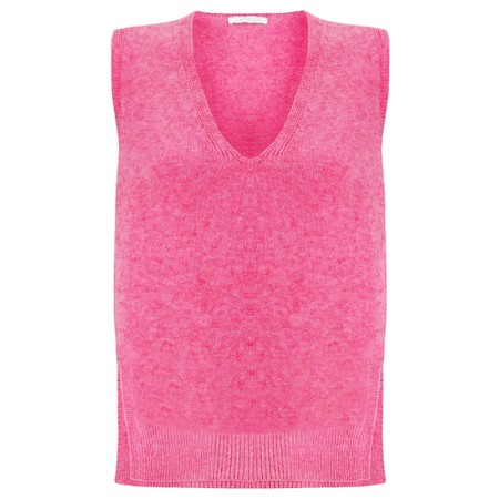 Amazing Woman Pixie V Neck Knitted Vest - Pink