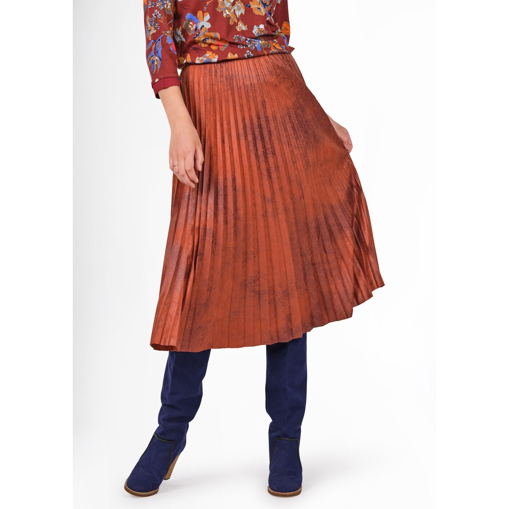 Sandwich Clothing Faux Suede Pleated Midi Skirt  Honey Ginger