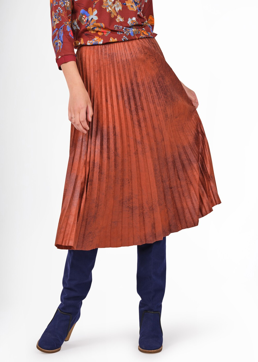 Faux Suede Pleated Midi Skirt  main image