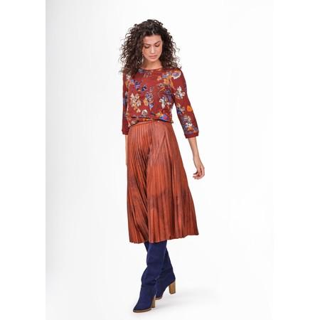 Sandwich Clothing Faux Suede Pleated Midi Skirt  - Orange